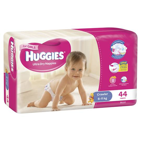 Huggies Ultra Dry Nappies Crawler Girl 6-11kg Bulk
