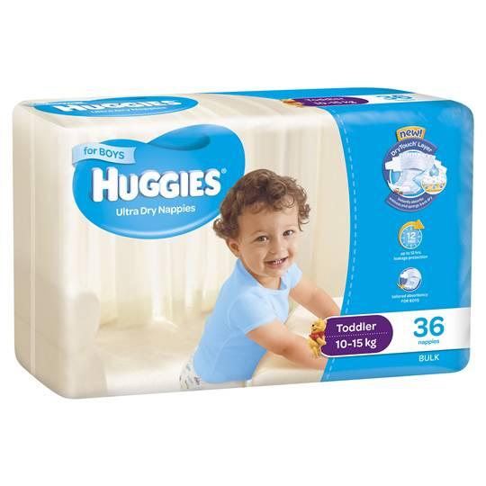 Huggies Ultra Dry Nappies Toddler Boy 10-15kg Bulk