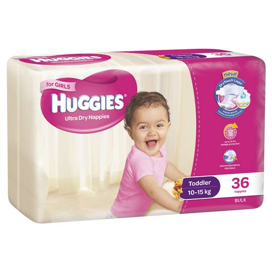 Huggies Ultra Dry Nappies Toddler Girl 10-15kg Bulk