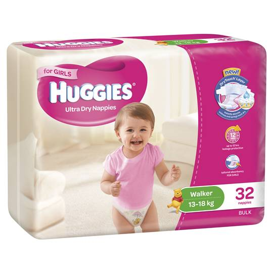 Huggies Ultra Dry Nappies Walker Girl 13-18kg Bulk