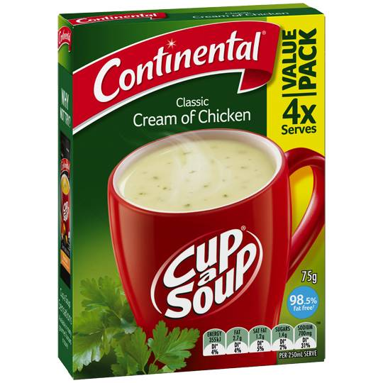 Continental Cup A Soup Noodles Instant Soup Cream Of Chicken
