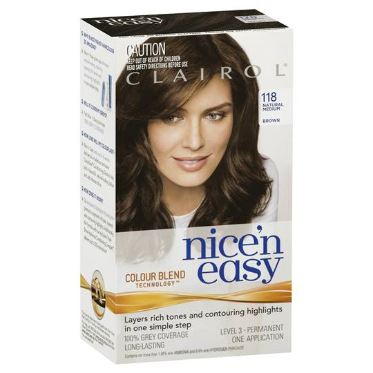 Clairol Nice N Easy 118 Natural Medium Brown
