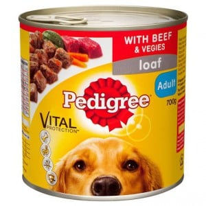 Pedigree Adult Dog Food Can Loaf Beef & Vegies