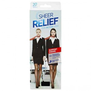 Kolotex Sheer Relief Pantyhose Control Support Black Tall