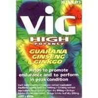 Vig High Potency Guarana Ginseng Gingko Endurance Tablets