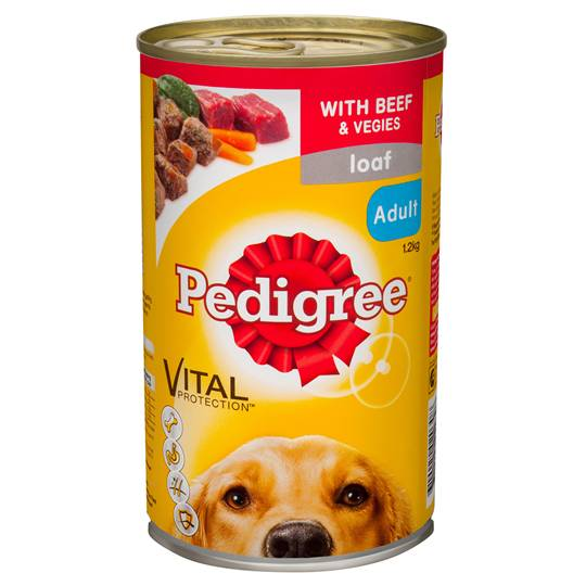 Pedigree Adult Dog Food Can Loaf With Beef & Vegies