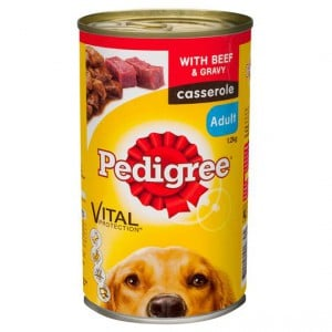 Pedigree Adult Dog Food Can Casserole With Beef Gravy