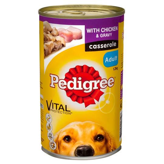 Pedigree Adult Dog Food Can Casserole Chicken Gravy