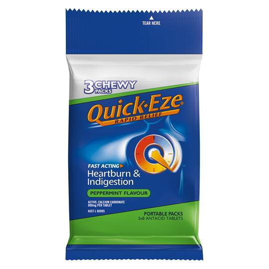 Quick Eze Heartburn & Indigestion Relief Chewy Peppermint