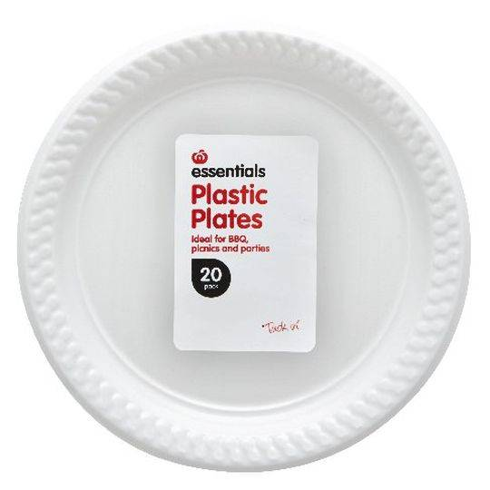 Essentials Plastic Plates White
