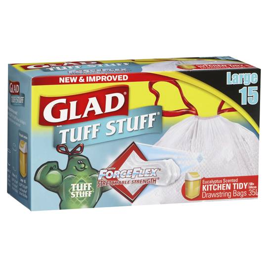 Glad Tuff Stuff Forceflex Drawstring Kitchen Bags Large