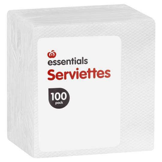 Essentials Serviettes 1ply White