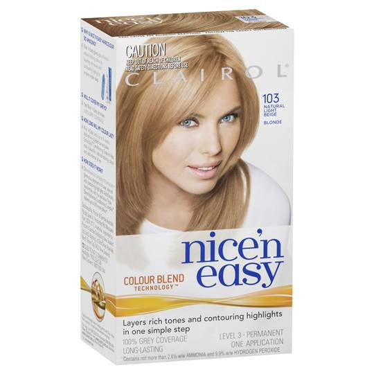 Clairol Nice N Easy Permanent Hair Color Kit 103 Natural Light Beige Blonde