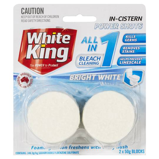 White King Bleach Toilet Cleaner Block Power Clean Shots