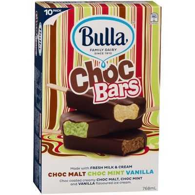 Bulla Ice Cream Bars Choc Malt Choc Mint Vanilla