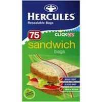 Hercules Click Zip Sandwich Bags Resealable