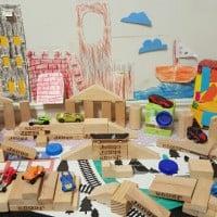 Papercraft and block mini skatepark