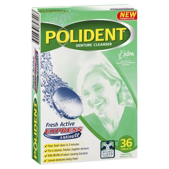 Polident Denture Care Cleanser Tablets Fresh Active