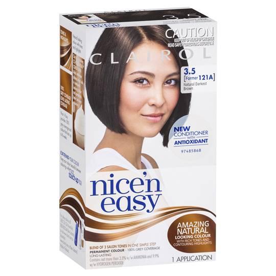 Clairol Nice N Easy Permanent Hair Color Kit 121a Natural Darkest Brown