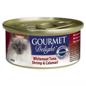 Gourmet Delight Adult Cat Food Whitemeat Tuna Shrimp Calamari