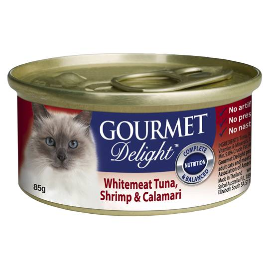 Gourmet Delight Adult Cat Food Whitemeat Tuna Shrimp Calamari