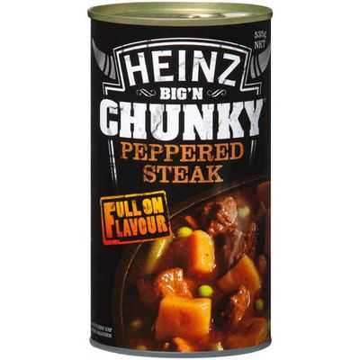 Heinz Big N Chunky Canned Soup Peppered Steak