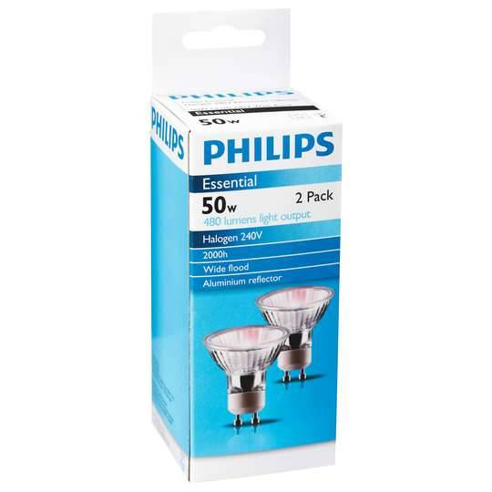 Philips Halogen Gu10 Downlight 50w 60degree 2pk