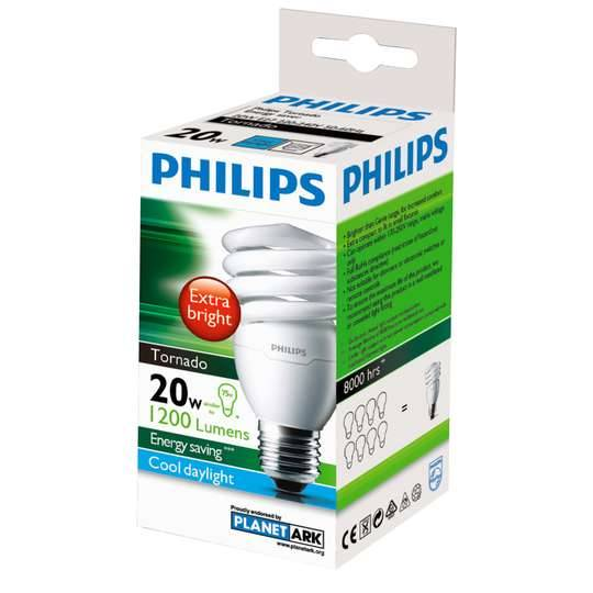 Philips Cfl Tornado Warm White Globe 20w Es Base