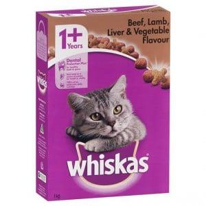 Whiskas Adult Cat Food Beef Lamb Liver & Vegetable