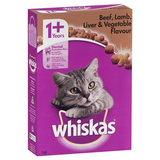 Whiskas Adult Cat Food Beef Lamb Liver & Vegetable