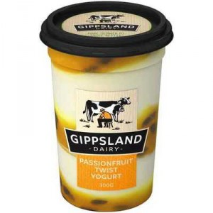 Gippsland Dairy Twist Passionfruit 94% Fat Free Yoghurt