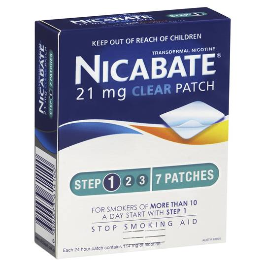 Nicabate Quit Smoking Patches Clear Step