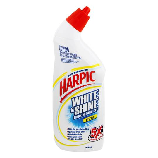 Harpic White & Shine Toilet Cleaner Bleach Gel Citrus