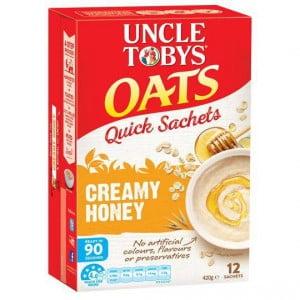 Uncle Tobys Quick Oats Sachets Creamy Honey