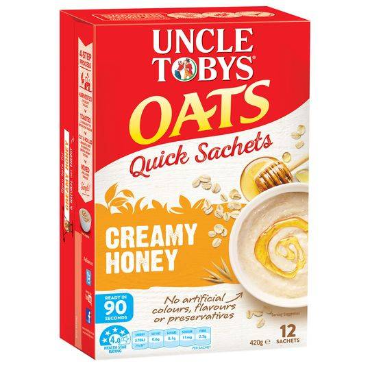 Uncle Tobys Quick Oats Sachets Creamy Honey