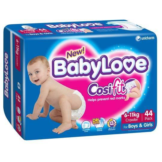 Babylove Cosifit Nappies Crawler 6-11kg Bulk