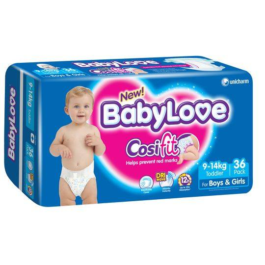 Babylove Nappies Toddler 9-14kg Bulk