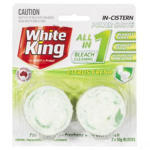 White King 3 In 1 Bleach Toilet Cleaner Block In Cistern Marble Citrus