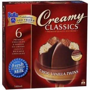 Bulla Creamy Classics Ice Cream Choc Vanilla Twins