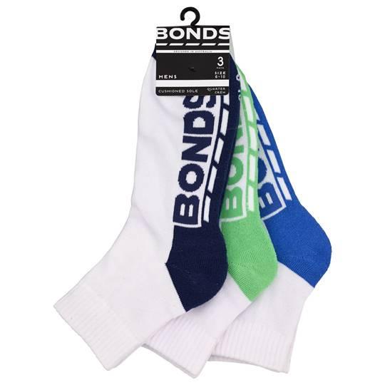 Bonds Mens Socks 1/4 Crew Sports Size 6-10
