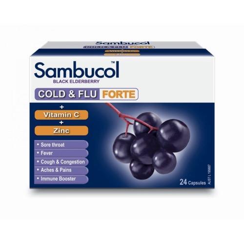 Sambucol Cold & Flu Forte Plus Vit C & Zinc Capsules