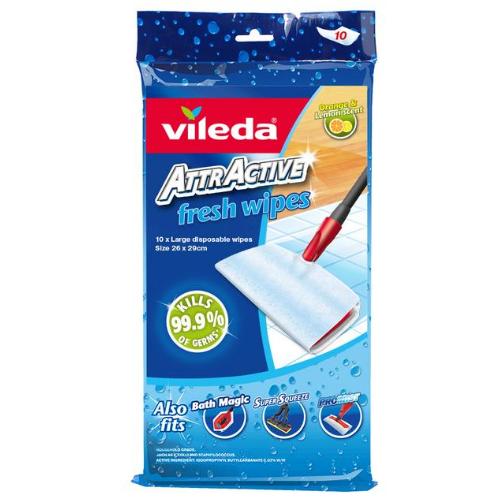 Image of Vileda AttrActive Refill - Fresh Wipes 10PK