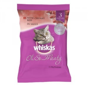Whiskas Adult Cat Food Oh So Chunky Beef