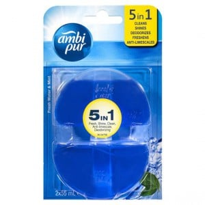 Ambi Pur 5 In 1 Toilet Rim Block Set Freshwater & Mint Refill