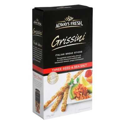 Always Fresh Grissini Crispbread Three Seed And Sea Salt