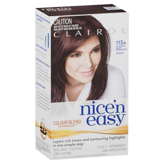 Clairol Nice N Easy 113a Natural Dark Burgundy Brown