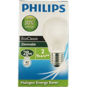 Philips Eco Halogen Globe Frosted 28w Es Base