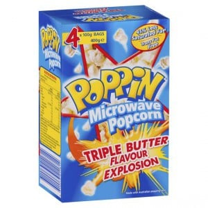 Poppin Microwave Popcorn Triple Butter Flavour 4pk