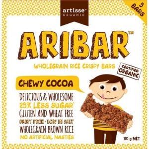 Artisse Organic Aribar Wholegrain Rice Crispy Bars Chewy Cocoa