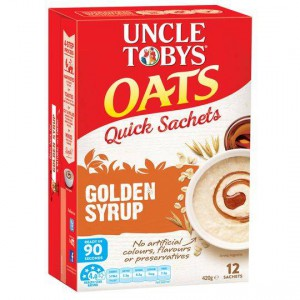 Uncle Tobys Quick Oats Sachets Golden Syrup
